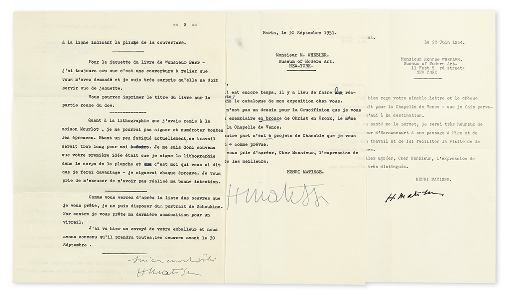 MATISSE, HENRI. Group of 4 items, each to MoMA Director of Exhibitions and Publications Monroe Wheeler: 3 Typed Letters Signed * Lart