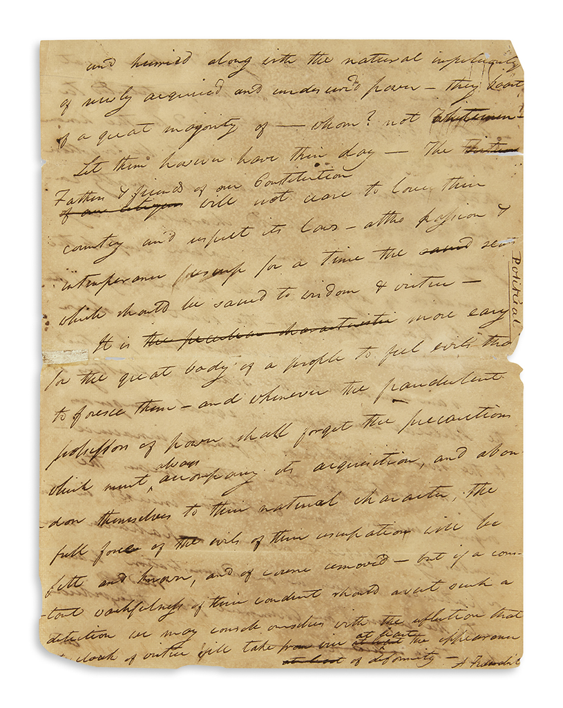 LETTER ON THE FEDERAL CONSTITUTION SIGNED A FEDERALIST NOAH WEBSTER. Autograph Manuscript Signed, A Federa...