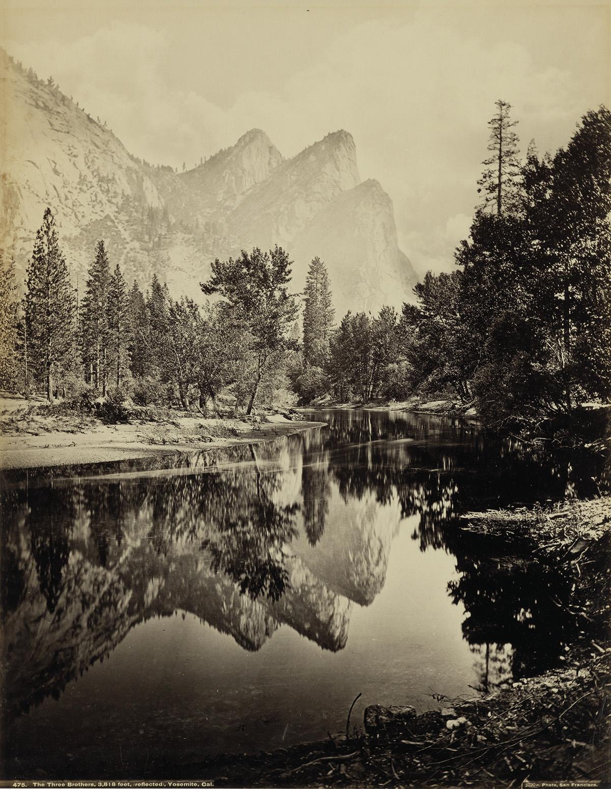 CARLETON E. WATKINS (1829-1916)/ISAIAH TABER (1830-1912) The Three Brothers, 3,818 feet, reflected, Yosemite, California.