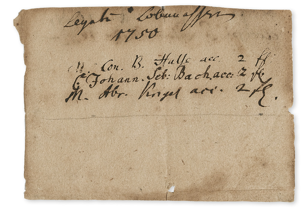 BACH, JOHANN CHRISTIAN. One line autograph inscription Signed, Johann Seb: Bach, acknowledging receipt of payment on behalf of his fa
