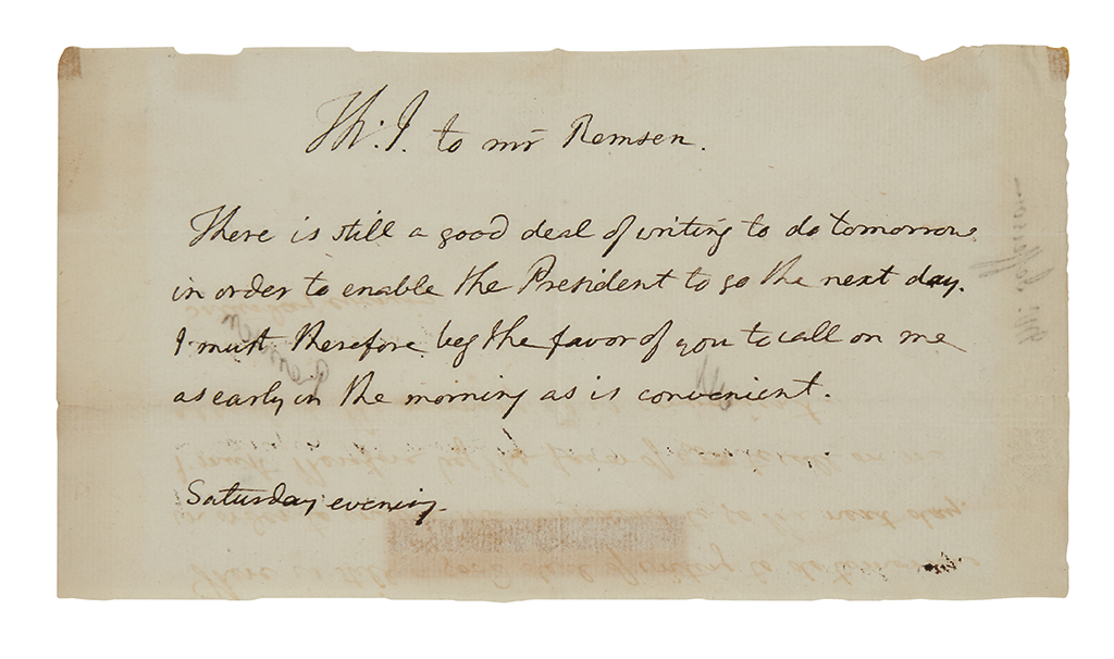 JEFFERSON, THOMAS. Autograph Note Signed, Th:J, in the third person within the text, to [Henry] Remsen: