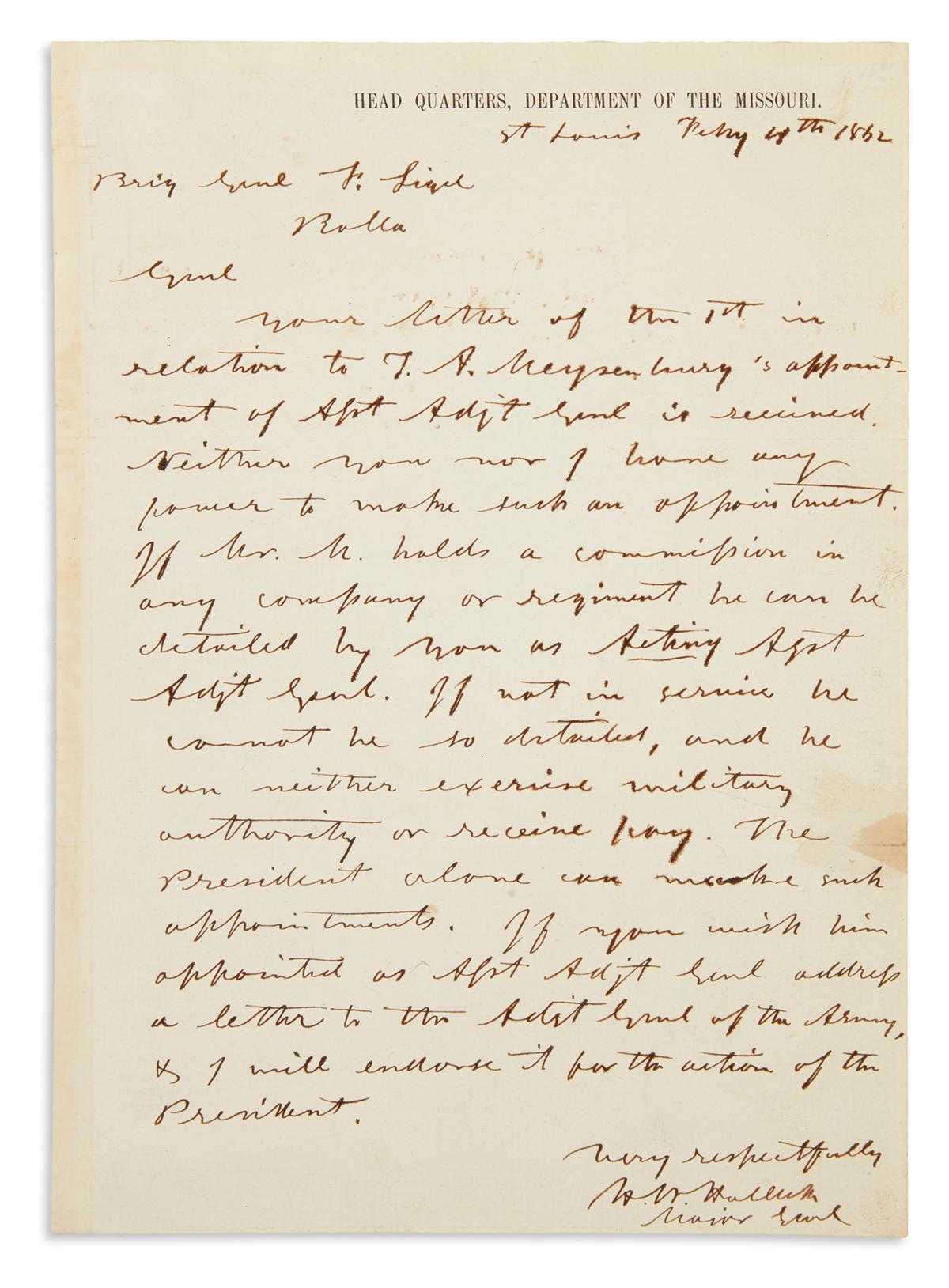 (CIVIL WAR.) HALLECK, HENRY W. Autograph Letter Signed, H.W. Halleck / Major Genl, to General Franz Sigel,