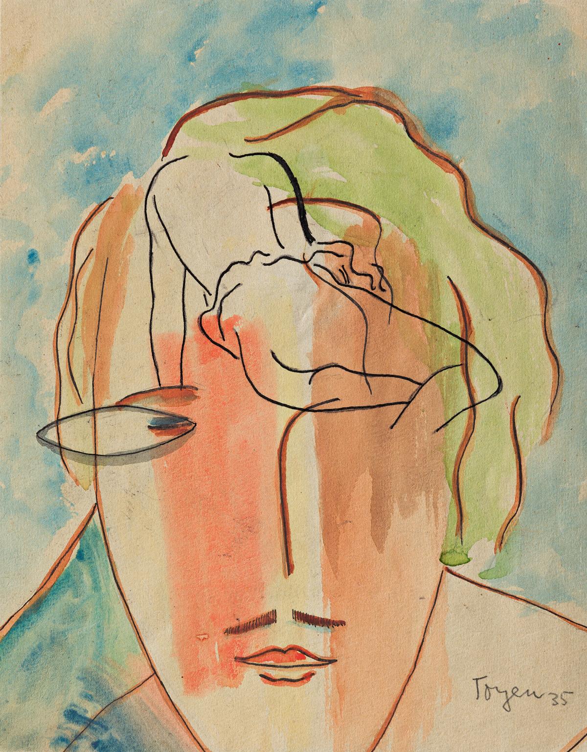 TOYEN (MARIE CERMINOVA, 1902-1980) Untitled Portrait with Nude.