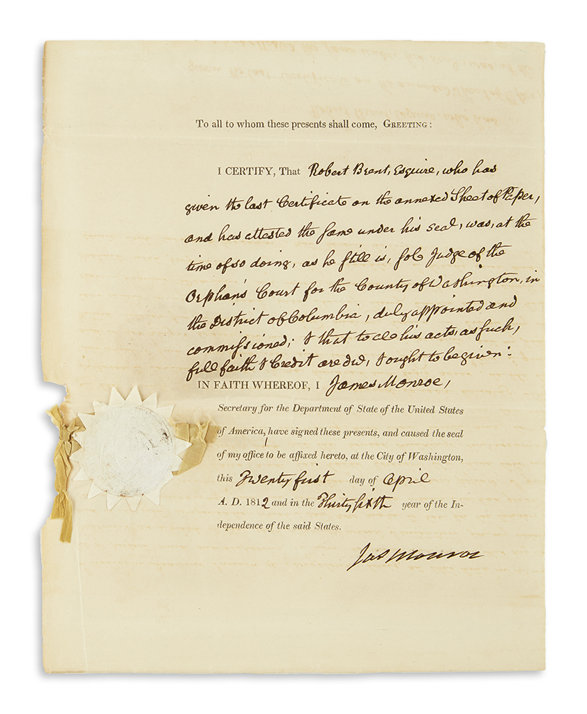 MONROE-JAMES-Partly-printed-Document-Signed-Jas-Monroe-as-Se