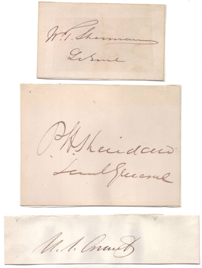 (CIVIL WAR.) Three clipped Signatures: Ulysses S. Grant * Philip H. Sheridan * William T. Sherman.
