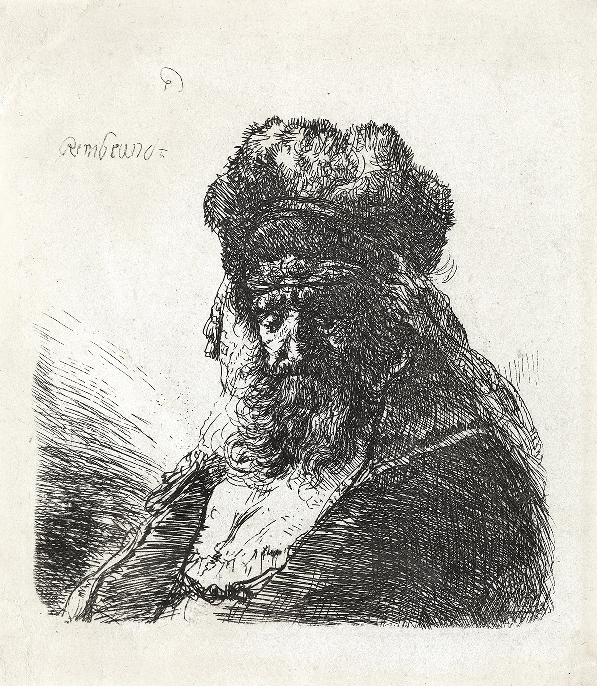 REMBRANDT-VAN-RIJN-Old-Bearded-Man-in-a-High-Fur-Cap-with-Ey