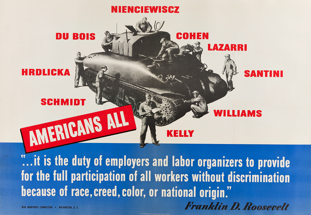 DESIGNER-UNKNOWN-AMERICANS-ALL--FRANKLIN-D-ROOSEVELT-1942-27x40-inches-70x101-cm-US-Government-Printing-Office-Washington-D