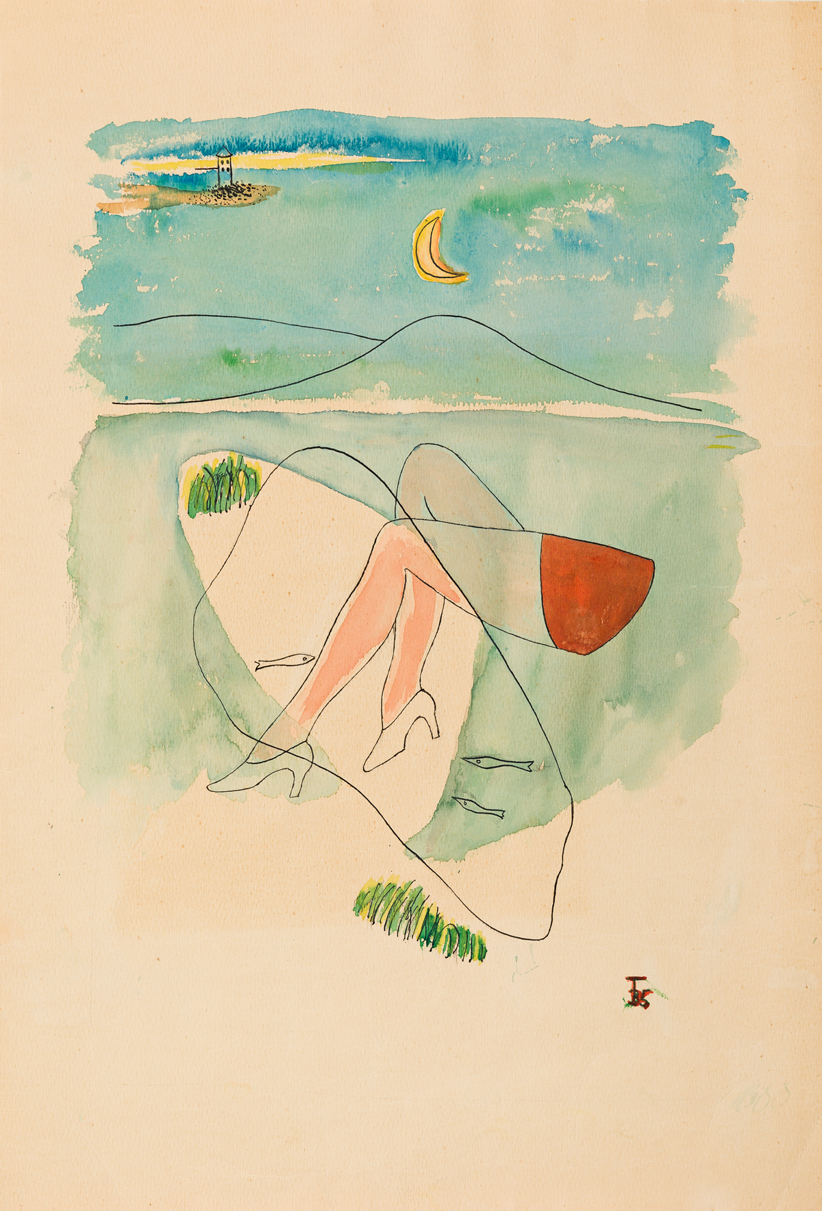 TOYEN (MARIE CERMINOVA, 1902-1980) Untitled Surrealist Beach Scene.