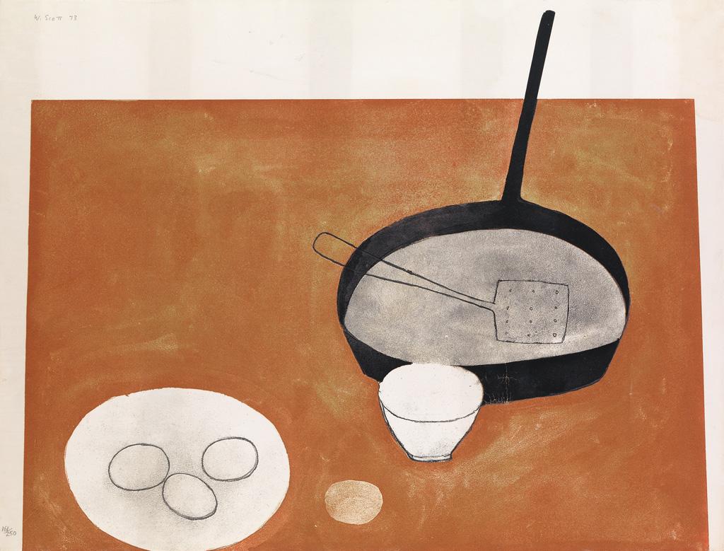 WILLIAM SCOTT Still Life with Frying Pan.