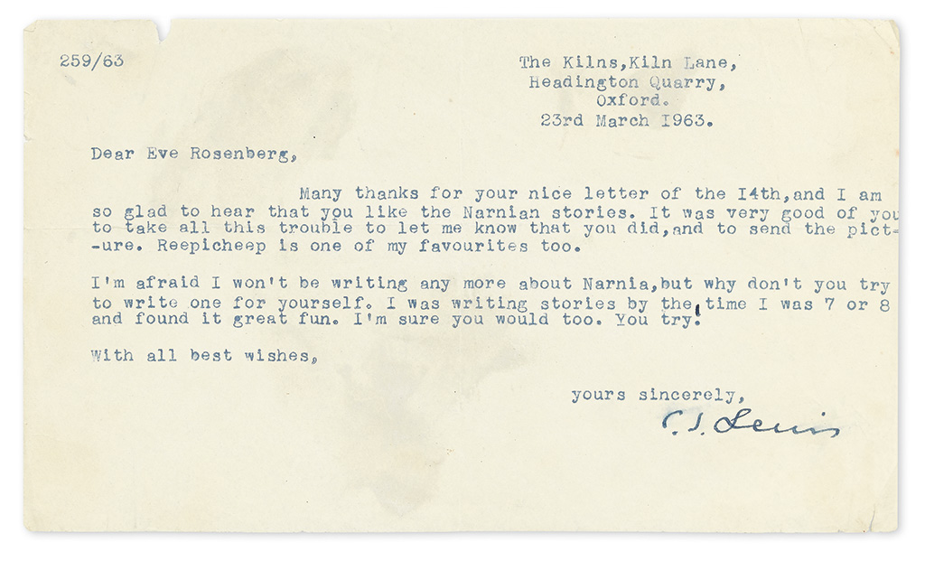 LEWIS, C.S. Typed Letter Signed, to Eve Rosenberg,