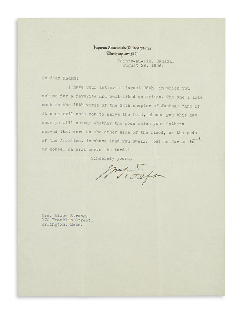 TAFT-WILLIAM-HOWARD-Typed-Letter-Signed-WHTaft-as-Chief-Just