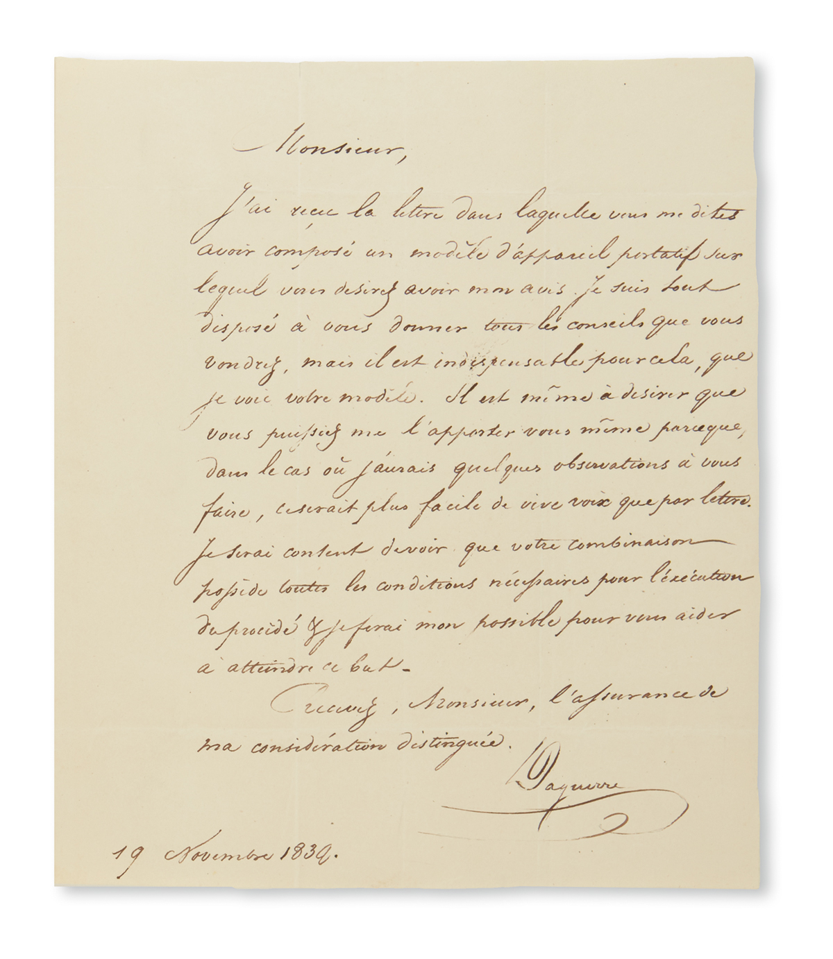 LOUIS JACQUES MANDÉ DAGUERRE. Autograph Letter Signed, Daguerre, to J.A. Bissinger, in French, agreeing to off...