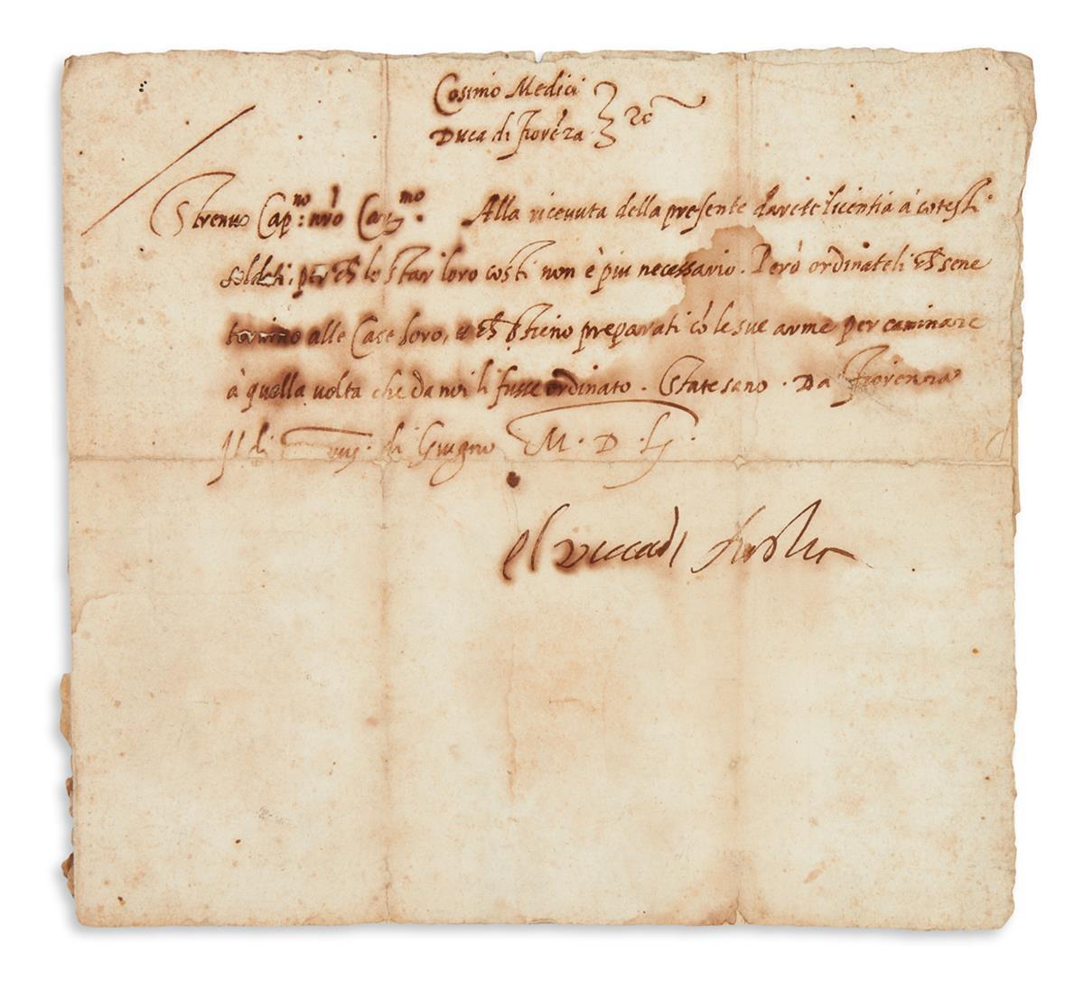 MEDICI-COSIMO-I-DE-Letter-Signed-Il-Duca-di-Fiorenza-to-Capt