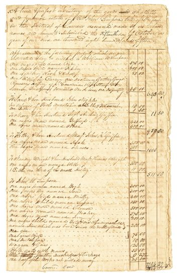 (SLAVERY AND ABOLITION.) SIMPSON, COLONEL JOHN. A True and Perfect Inventory of the Goods, Chattel and Personal Estate of Colonel John
