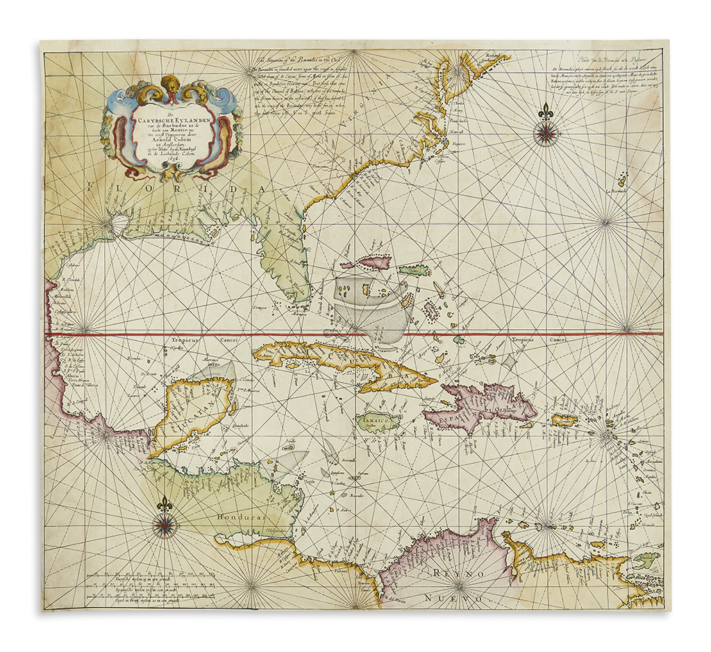 COLOM, ARNOLD. De Carybsche Eylanden van de Barbados tot de bocht van Mexico.