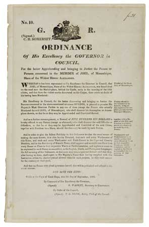 (SLAVERY AND ABOLITION.) Ordinance . . . For the better Apprehending and bringing to Justice the Person or Persons concerned in the MUR
