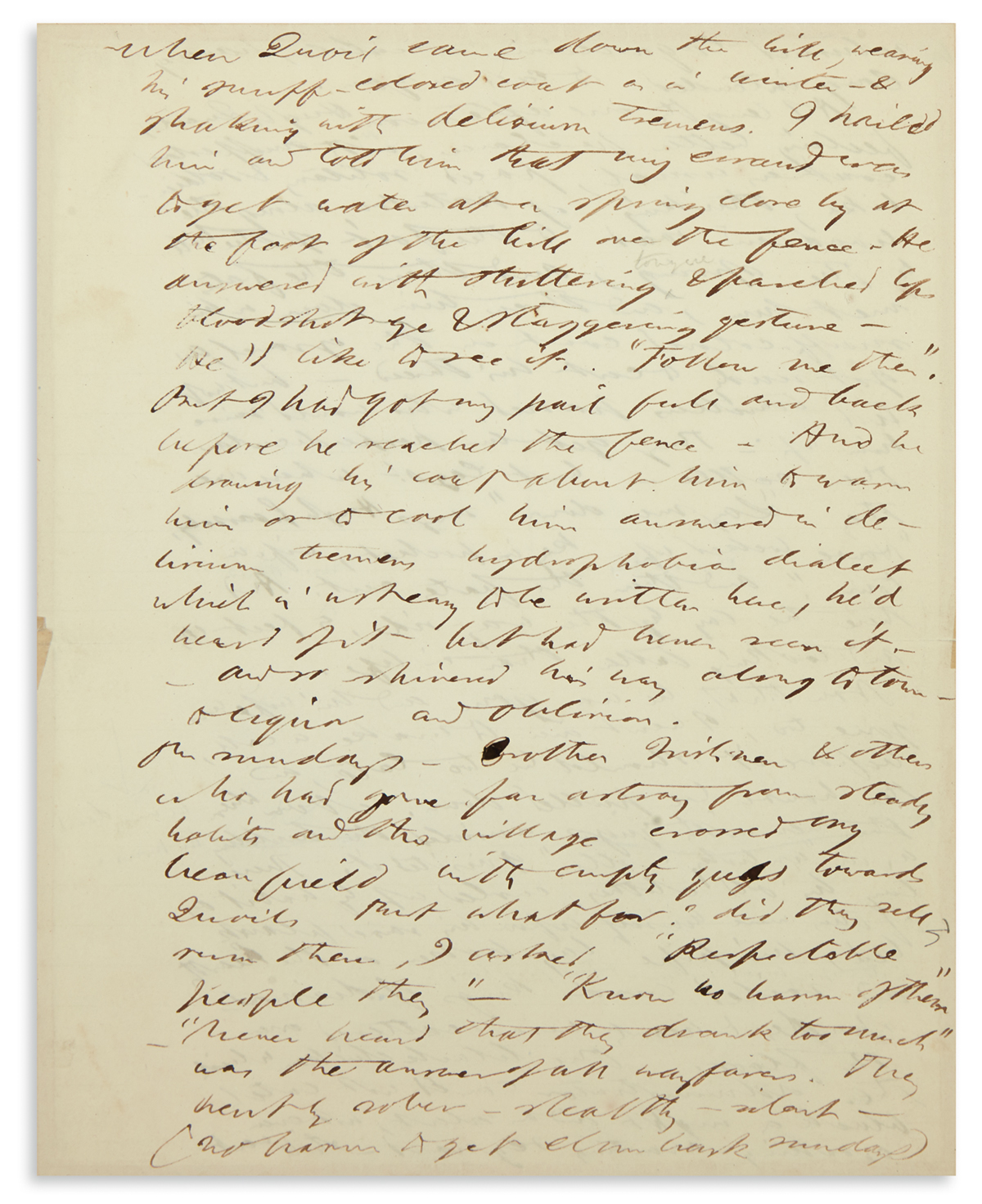WALDENS LAST INHABITANT: IRISHMAN HUGH QUOIL HENRY THOREAU. Autograph Manuscript, unsigned, a fragme...