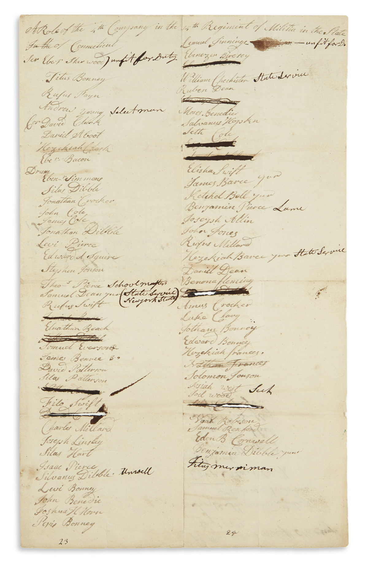 (AMERICAN-REVOLUTION--1782)-Muster-roll-for-a-company-of-Con