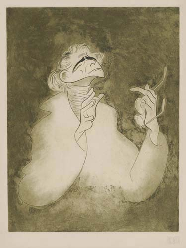 Leonard Bernstein. Etching and aquatint, printed in black and green. 12x9 inches, full margins.  Signed by Hirschfeld and numbered 33/1