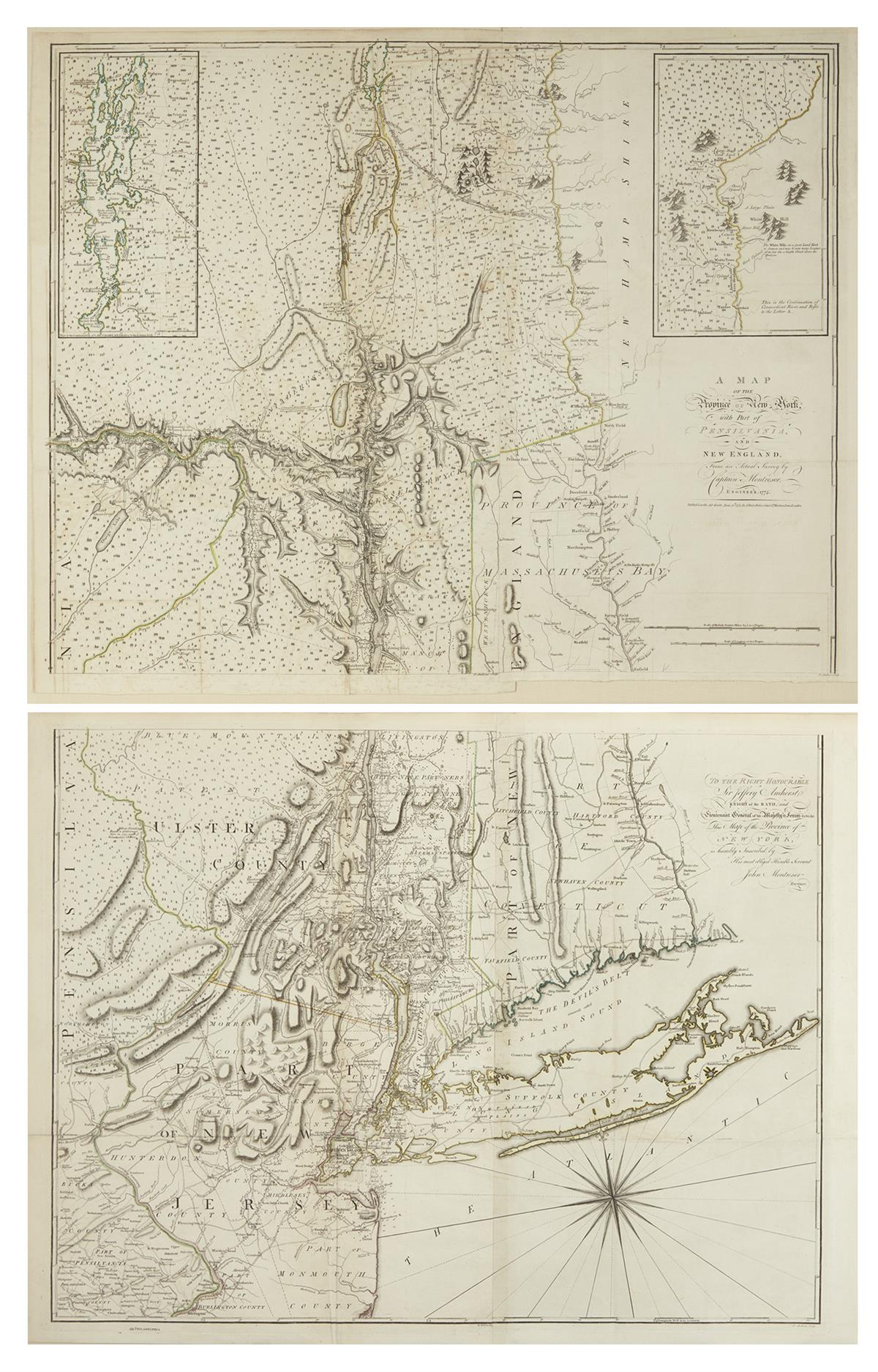 MONTRESOR, JOHN. A Map of the Province of New York, with Part of Pensilvania, and New England.