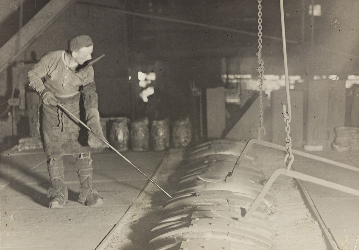 LEWIS W. HINE (1874-1940) Steel worker at open-hearth furnace.