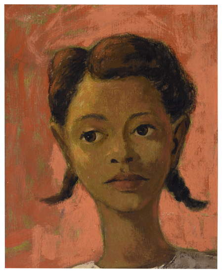 HUGHIE LEE-SMITH (1915 - 1999) Untitled (Portrait of Girl with Pink Background)