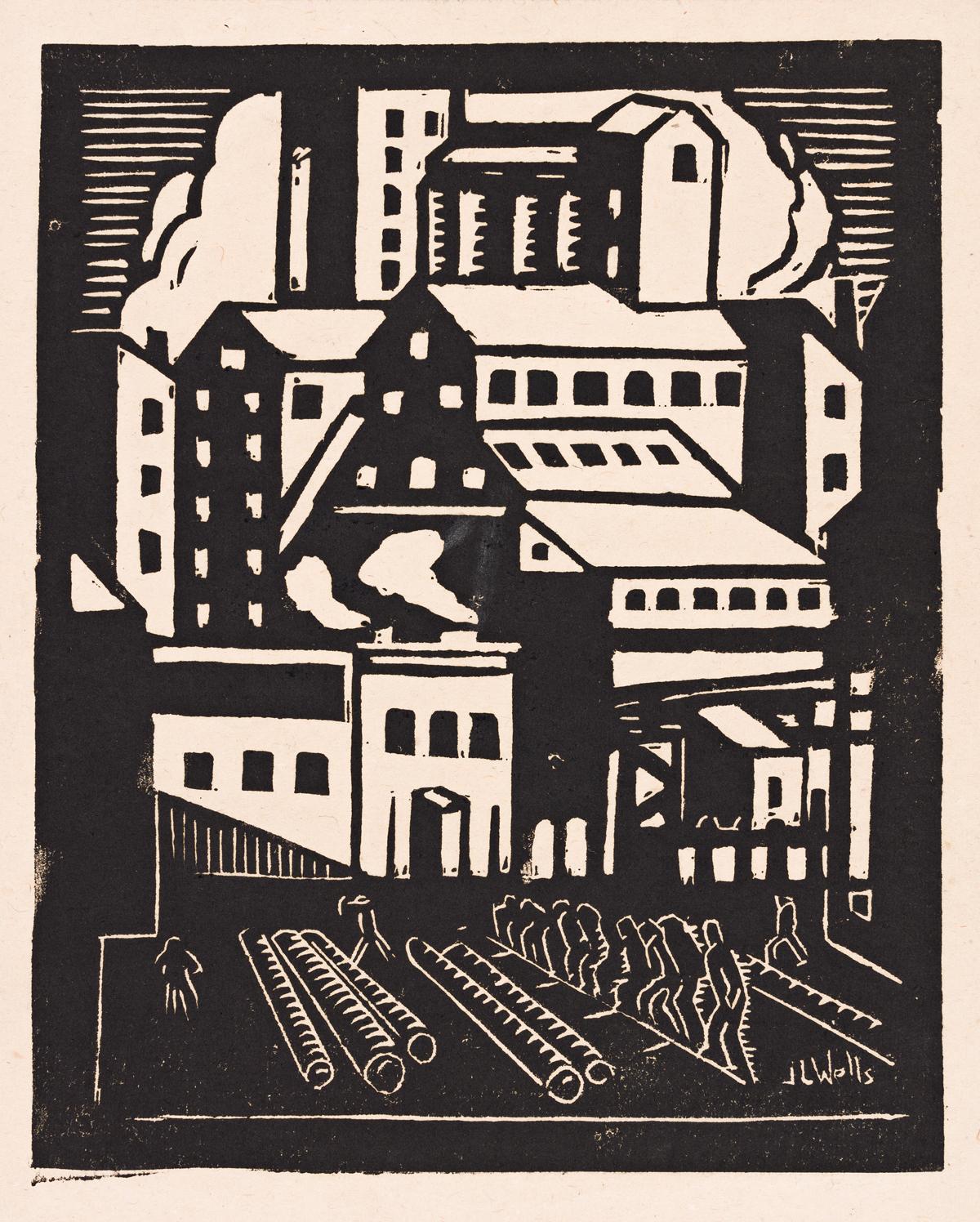 JAMES LESESNE WELLS (1902 - 1992) Buildings (Grain Elevator).