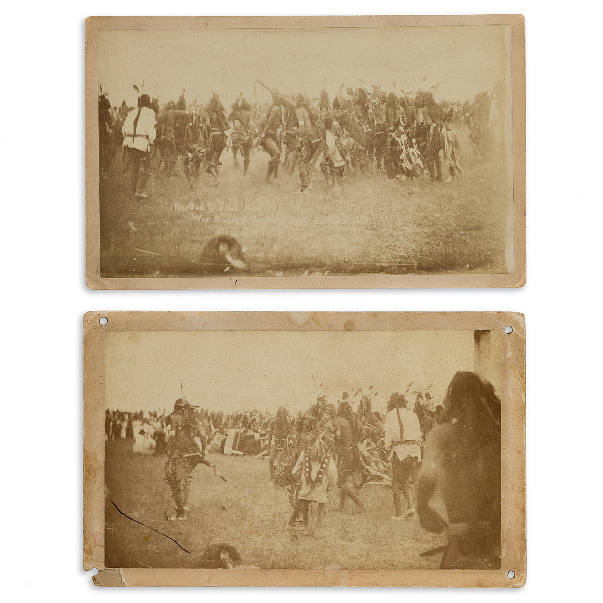 (AMERICAN INDIANS--PHOTOGRAPHS.) [George E. Trager]. Pair of promenade cards of the Ghost Dance at Pine Ridge.