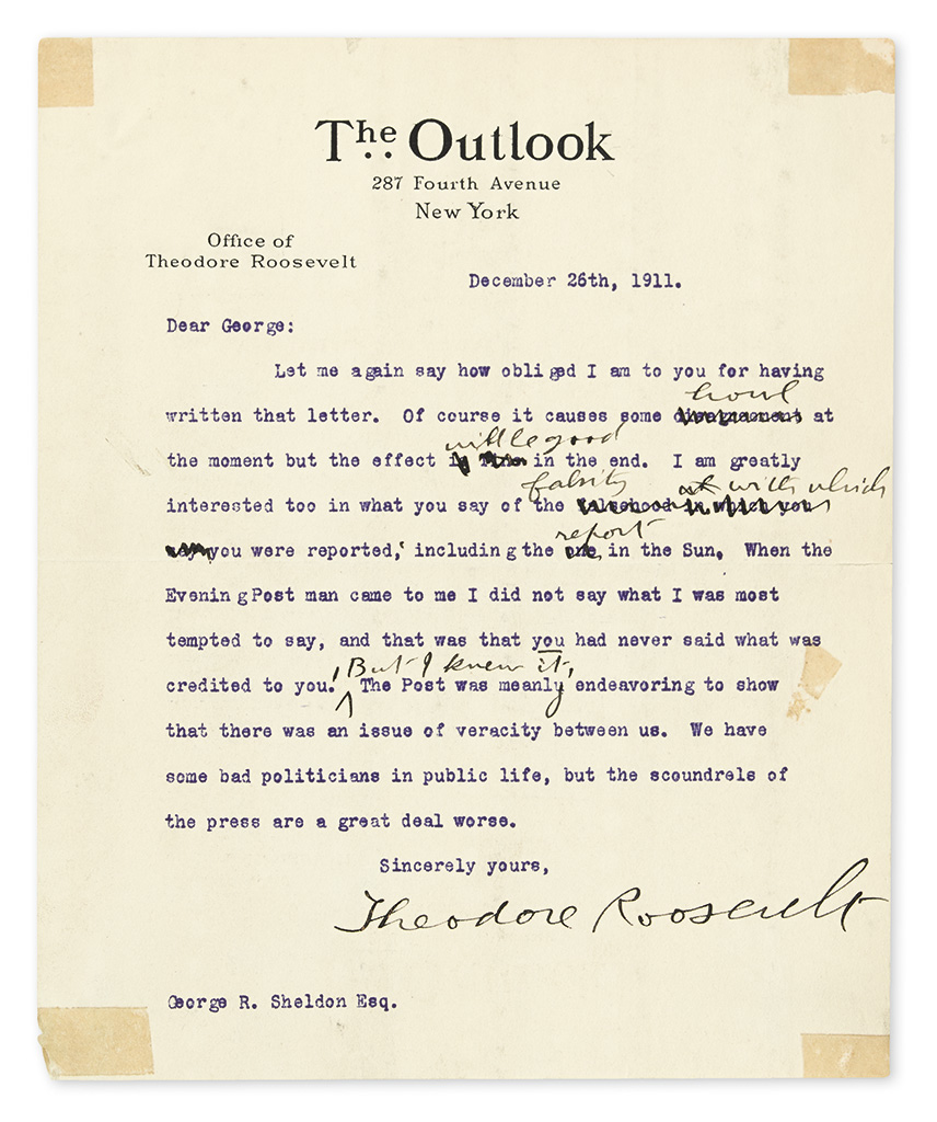 ROOSEVELT, THEODORE. Group of 3 Typed Letters Signed, to Republican Party Treasurer George R. Sheldon,