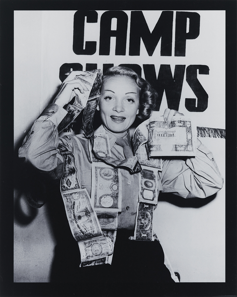 (DIETRICH, MARLENE.) Short snorter, containing over 1000 signatures, some dated, by mostly military and entertainment notables collecte