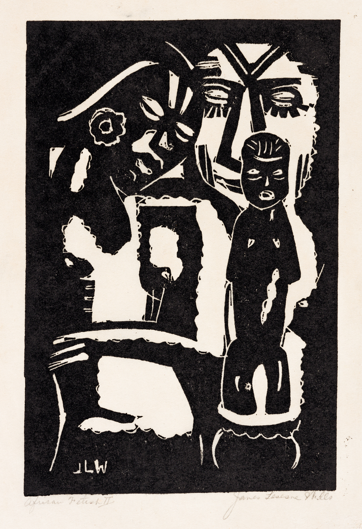JAMES LESESNE WELLS (1902 - 1992) African Fetish II (African Family).
