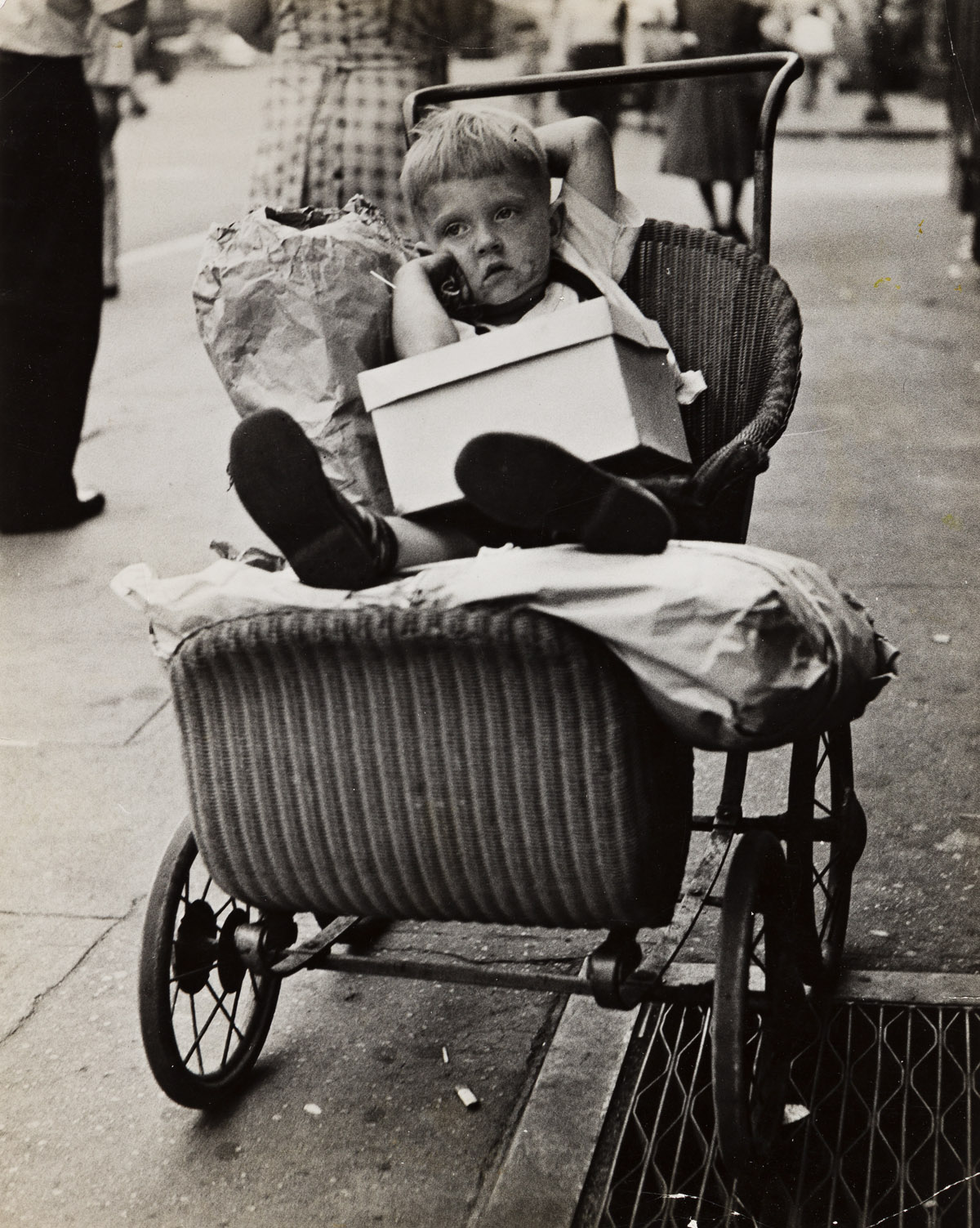 ED FEINGERSH (1925-1961) Little Boy in Pushcart with Packages.