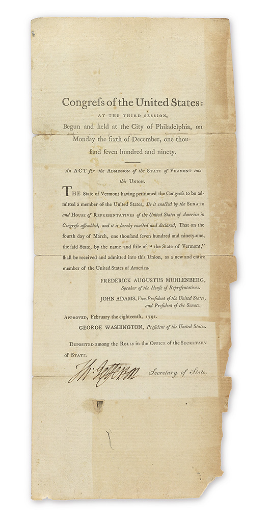 (VERMONT)-JEFFERSON-THOMAS-Printed-Document-Signed-ThJeffers