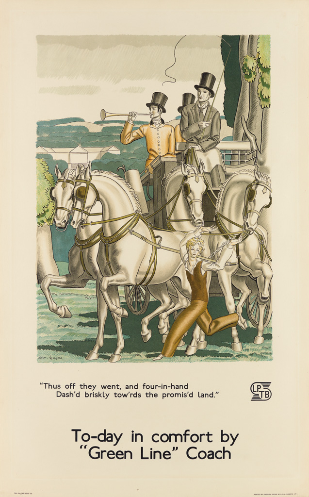 JEAN DUPAS (1882-1964). TO - DAY IN COMFORT BY GREEN LINE COACH. 1933. 40x25 inches, 101x63 cm. Johnson, Riddle & Co. Ltd., London.