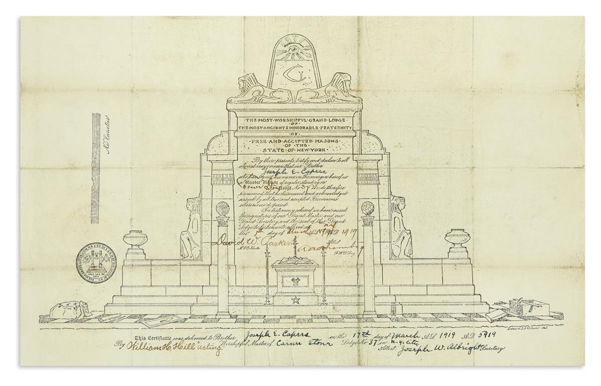 (FRATERNAL.) Masonic certificate signed by Arturo Schomburg.