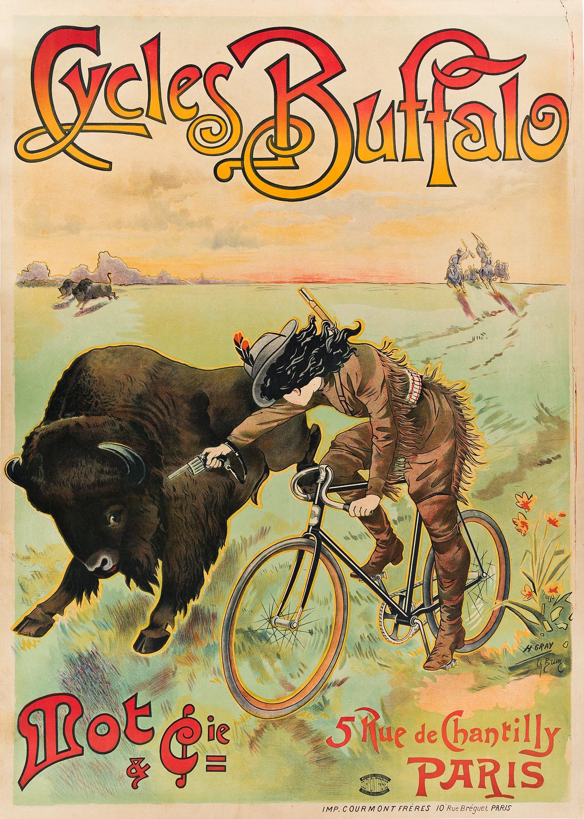 H. GRAY (HENRI BOULANGER, 1858-1924) & CHARLES BRUN (1825-1908). CYCLES BUFFALO. Circa 1902. 53x38 inches, 136x96 cm. Courmont Fréres,