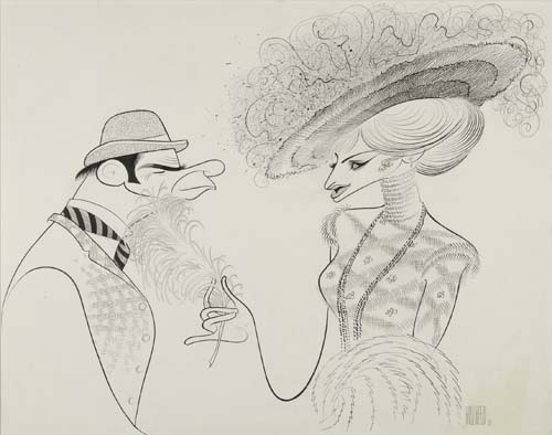 Streisand & Matthau, Hello Dolly. Pen and ink drawing on board. Approximately 22x28 inches oblong; matted. Signed Hirschfeld 3 lowe