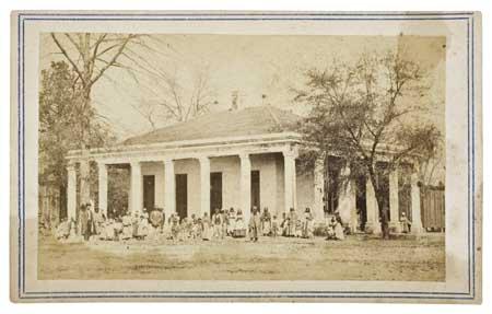 (SLAVERY AND ABOLITION--PHOTOGRAPHY.) The slaves of Jefferson Davis's brother Joe,