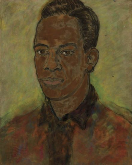 BEAUFORD DELANEY (1901 - 1979) Untitled (Portrait of a Young Man with a Red Shirt).