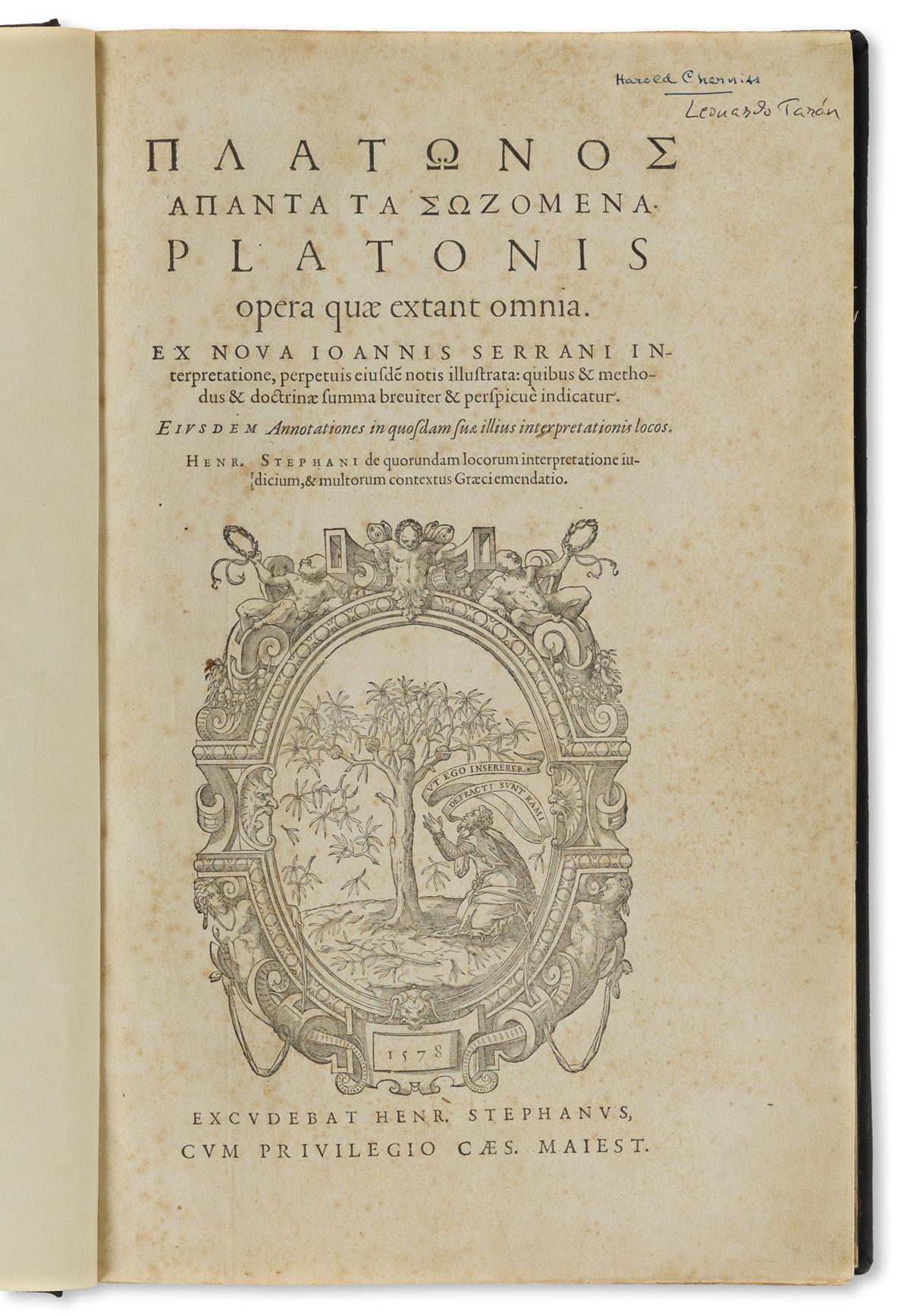 Plato (c. 427-347 BC) Opera Quae Extant Omnia.