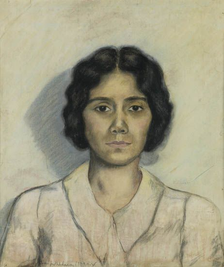 BEAUFORD DELANEY (1901 - 1979) Untitled (Portrait of a Young Woman).