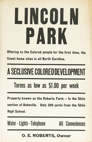 (CIVIL RIGHTS.) HOUSING. Lincoln Park. Offering to the Colored People for the first time, the finest homes in all North Carolina. A SEC