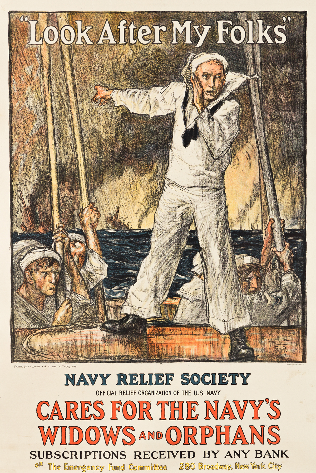 FRANK BRANGWYN (1867-1956).  LOOK AFTER MY FOLKS / NAVY RELIEF SOCIETY. Circa 1917. 41x27½ inches, 104x69¾ cm. American Lithographic