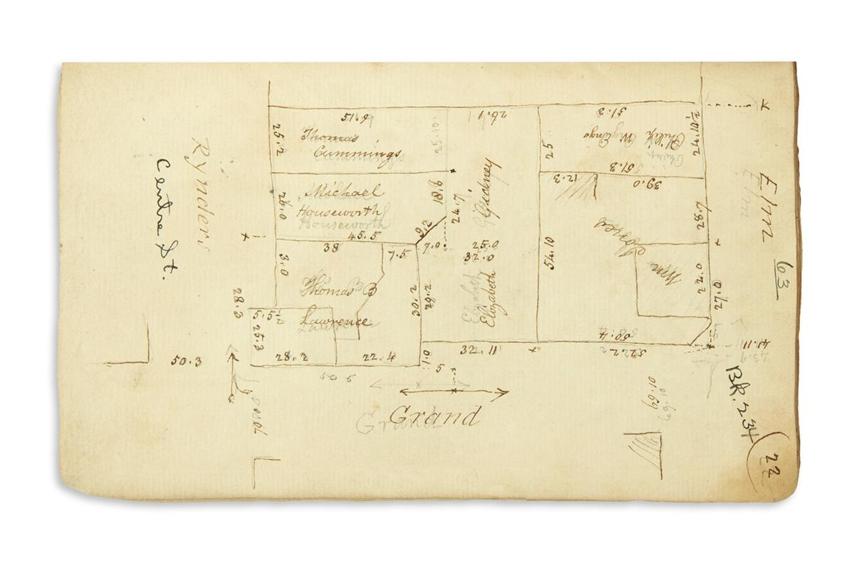 (NEW YORK CITY.) Group of manuscript field notebooks of the Bridges family surveying firm.