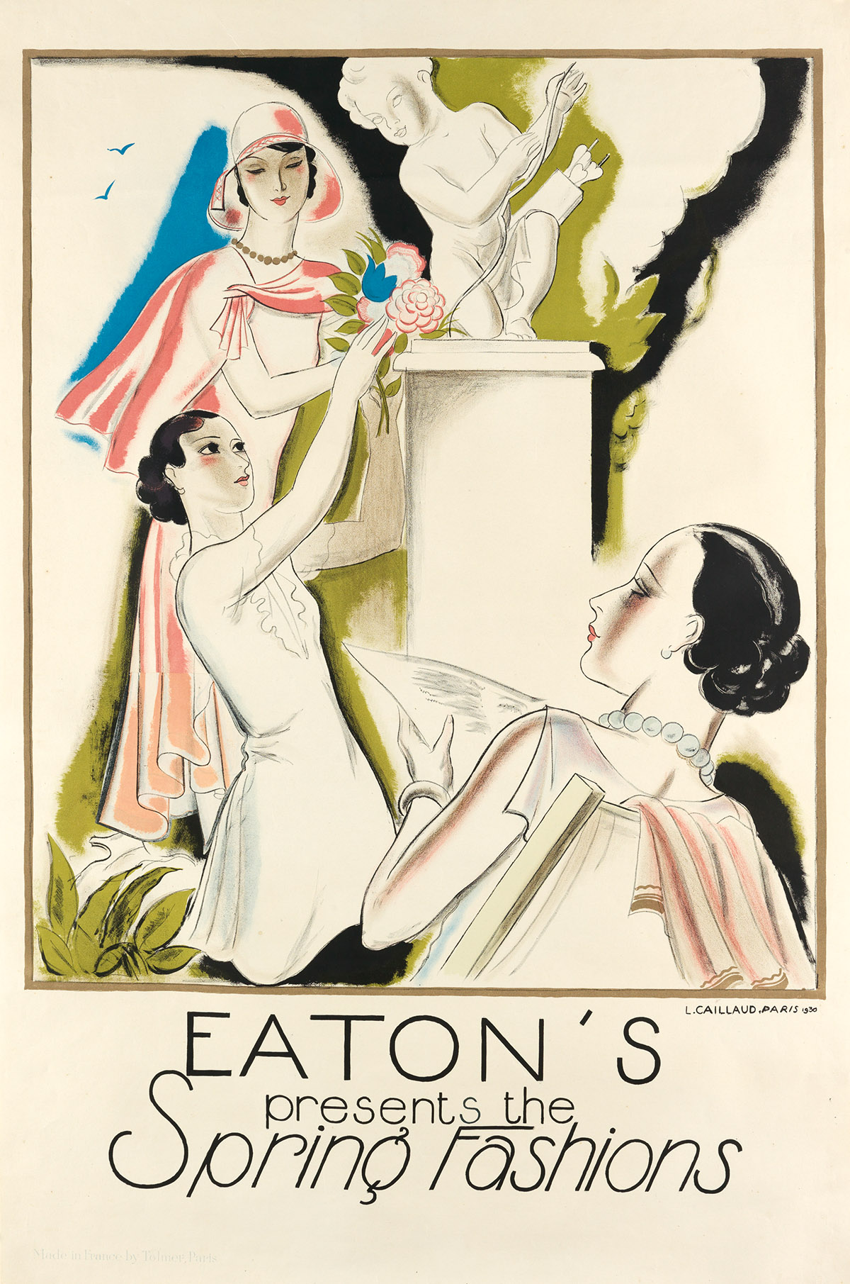 LOUIS CAILLAUD (1894-1960). EATONS PRESENTS THE SPRING FASHIONS. 1930. 47x30 inches, 119x78 cm. Tolmer, Paris.