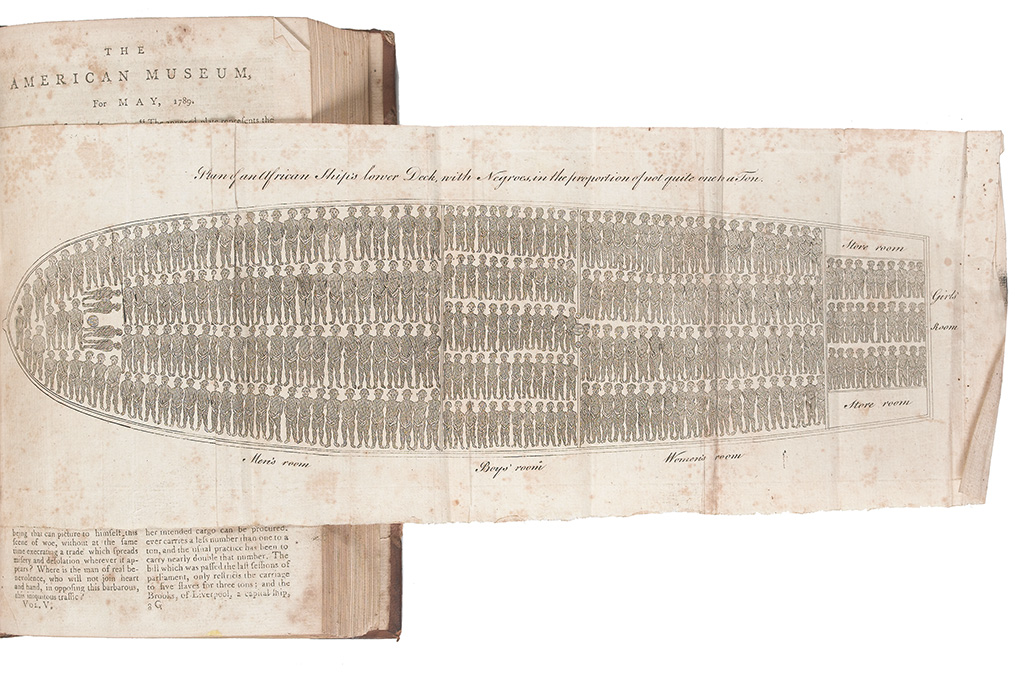 (SLAVERY AND ABOLITION.) CAREY, MATHEW. Plan of an African Ships Lower Deck with Negroes in the Proportion of not quite one to ton .