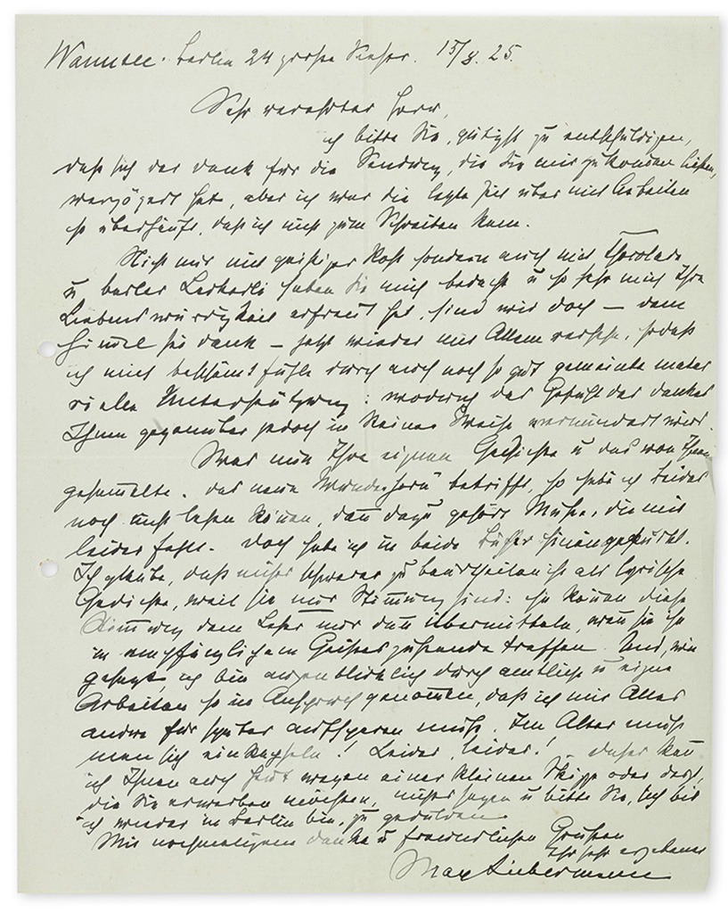 LIEBERMANN, MAX. Group of 6 Autograph Letters Signed, to Mr. Seclin or unnamed recipients, in German,
