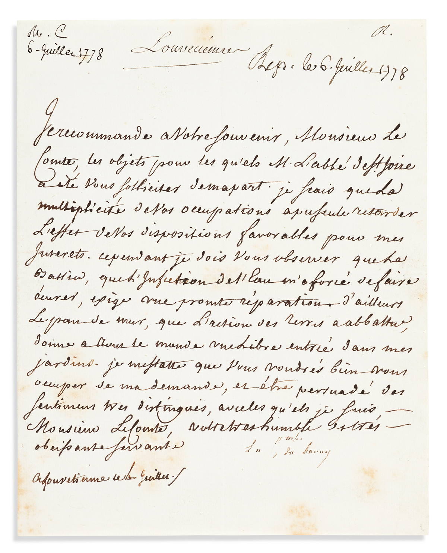 DU BARRY, JEANNE BÉCU; COMTESSE. Letter Signed, La Comtesse du Barry, to an unnamed count, in French,
