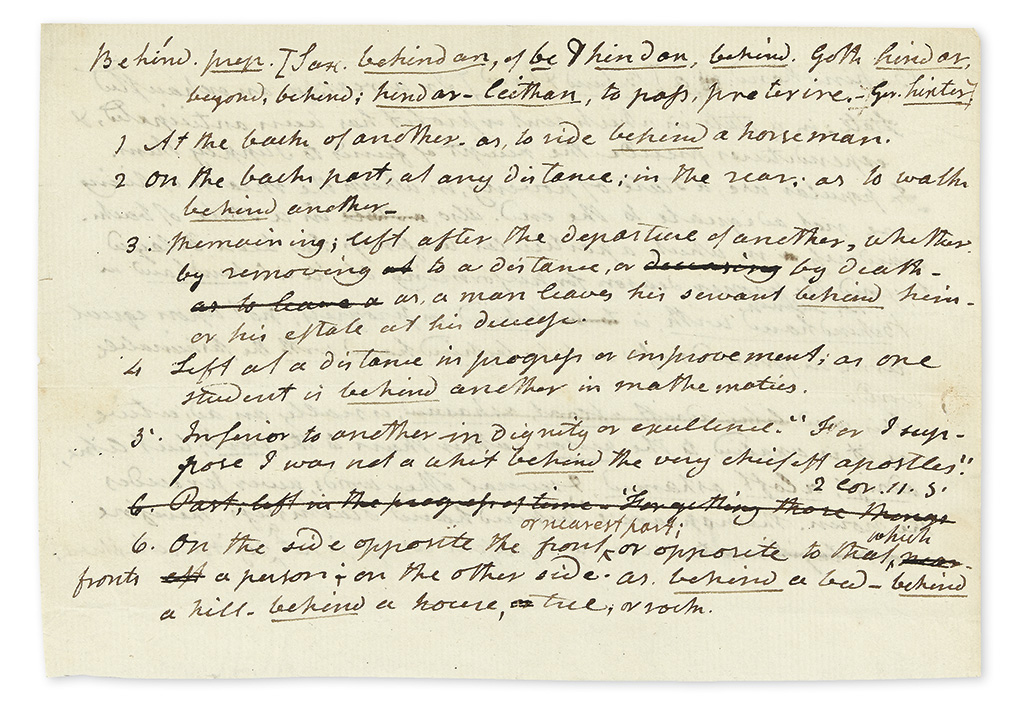 WEBSTER, NOAH. Autograph Manuscript, unsigned, fragment from the first edition of his An American Dictionary of the English Language, d