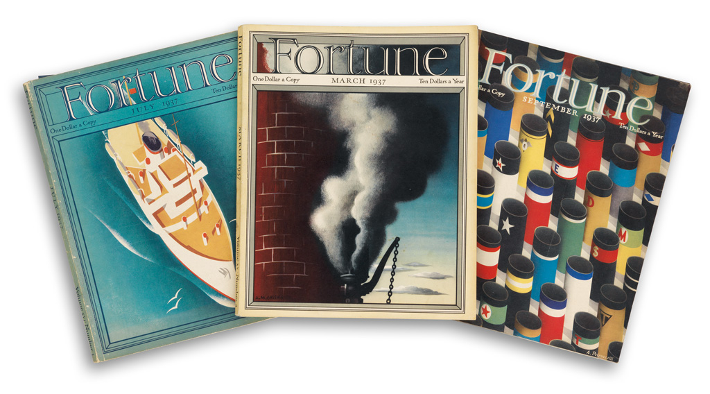 VARIOUS ARTISTS. FORTUNE. Group of 11 magazine issues. 1937-8. Each approximately 14x11 inches, 35x28 cm. Time Incorporated, Jersey Cit